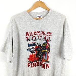 Vtg Firefighter Fire Rescue Flames Jerzees Tshirt